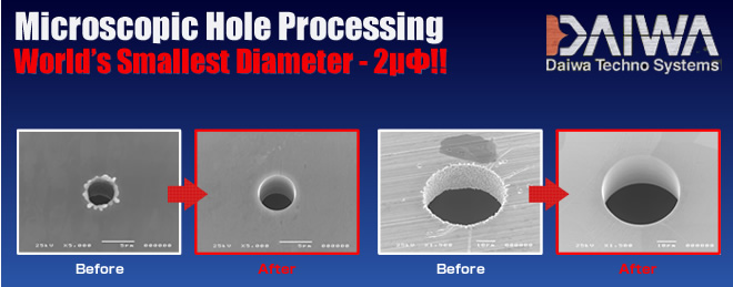 Microhole Processing: Daiwa Techno Systems Achieves World's Smallest Diameter - 2µΦ!!